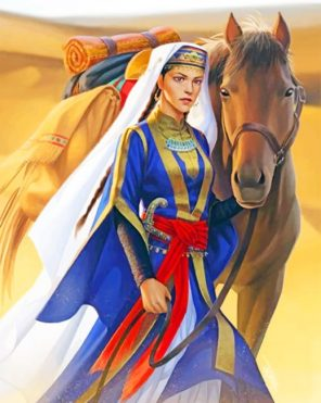 Arabian Woman With Her Horse Paint by numbers