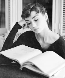 Audrey Hepburn Reading Book paint by numbers
