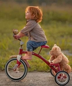 Baby Cyclist With His Teddy Bear paint by numbers
