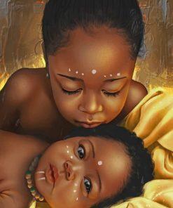 Black African American Kids paint by numbers