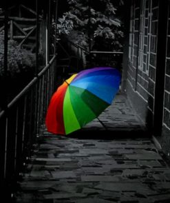 Black And White Colorful Umbrella paint by numbers