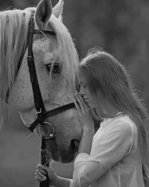 Black And White Lady And Horse paint by numbers