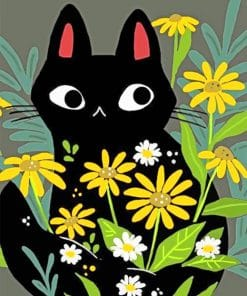 Black Cat With Flowers paint by numbers