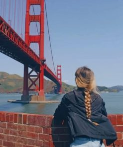 Blondy Watching Golden Gate Bridge paint by numbers