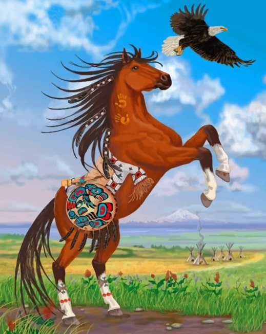 Brown Horse And Eagle Paint by numbers