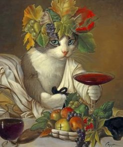 Cat Drinking Wine Paint by numbers
