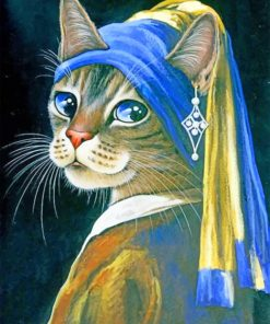 Cat With Pearl Earring Paint by numbers