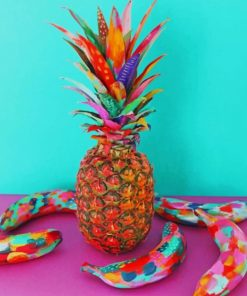 Colorful Pineapple And Bananas Paint by numbers