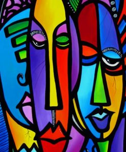 Colorful Abstract Faces paint by numbers