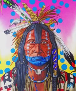 Colorful Amerindian Man paint by numbers