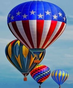 Colorful Hot Air Balloons paint by numbers