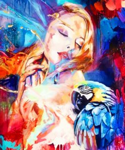 Colorful Woman And Parrot paint by numbers