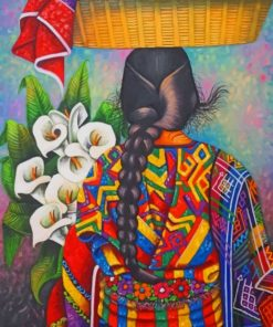 Colorful Woman Carrying Fruits And Flowers paint by numbers