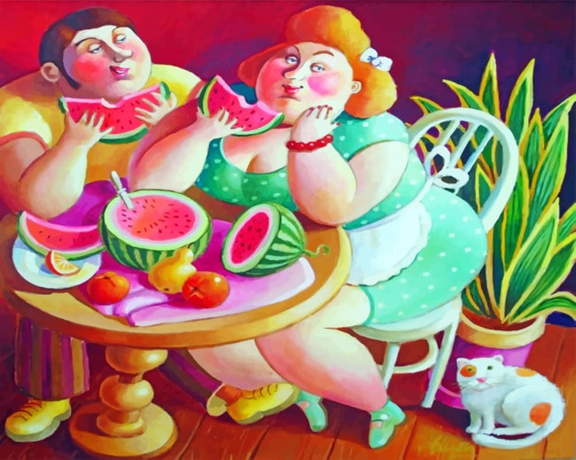 Couple Eating Watermelon Paint by numbers