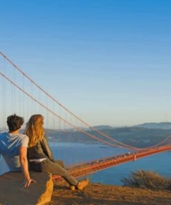 Couple In Golden Gate Bridge paint by numbers