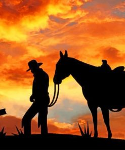 Cowboy Silhouette paint by numbers