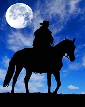 Cowboy Under The Moon Paint by numbers