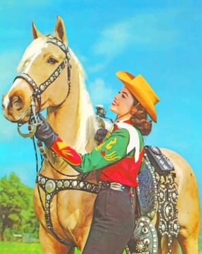 Cowgirl With Her Horse Paint by numbers