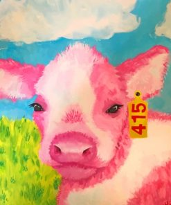 Cute Pink Cow paint by numbers