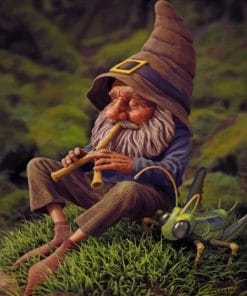 Dwarf Man Playing With Flute paint by numbers
