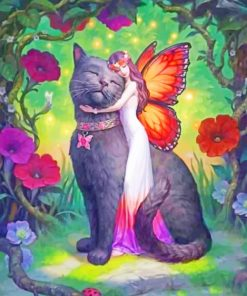 Fairy Butterfly Hugging A Black Cat Paint by numbers