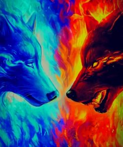 Fire And Ice Wolves paint by numbers