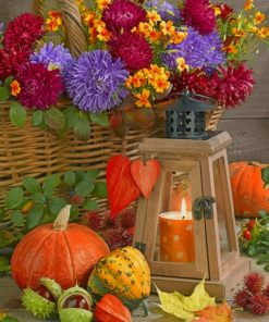 Flowers And Pumpkin paint by numbers