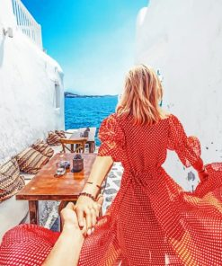 Follow Me To Santorini Greece Europe Paint by numbers