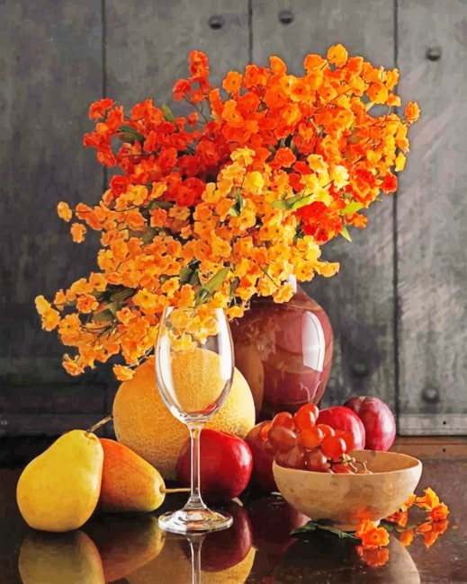 Fruits And Flowers Still Life Paint by numbers