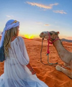 Girl And Camel In Sahara paint by numbers