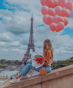 Girl Holding Pink Balloons In Paris paint by numbers