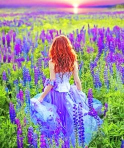 Girl In Lavender Fields paint by numbers