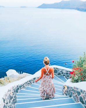 Girl In Santorini Paint by numbers