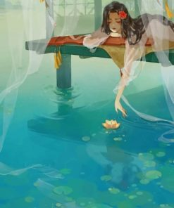 Girl Water Reflection Paint by numbers