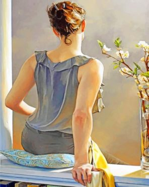 Girl Sitting Alone paint by numbers