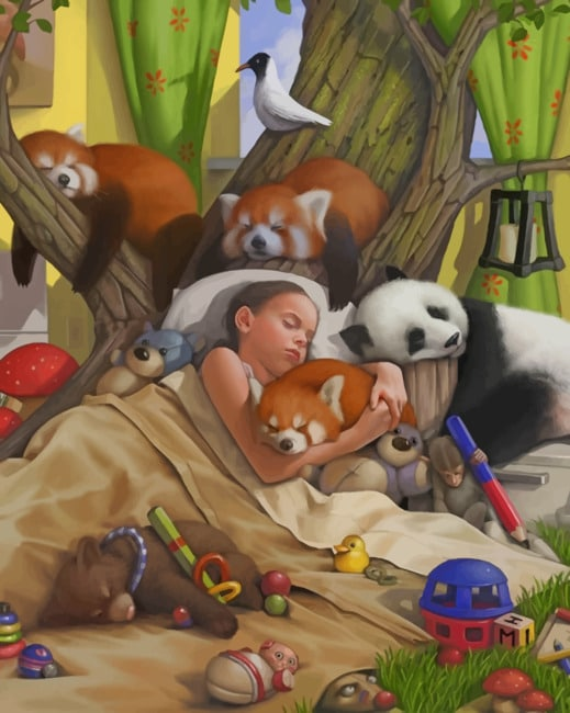 Girl Sleeping With Animals paint by numbers