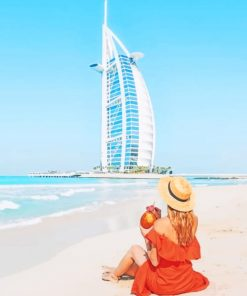 Girl Spending Her Time Looking At Burj Al Arab Paint by numbers