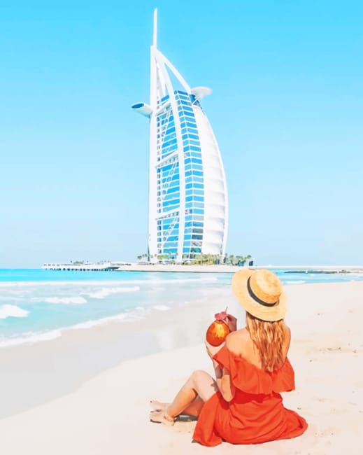 Girl Spending Her Time Looking At Burj Al Arab Paint by numbers
