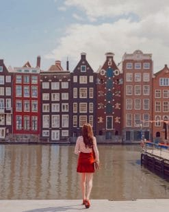 Girl Watching Amsterdam Buildings paint by numbers