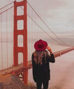 Girl Watching Golden Gate Bridge paint by numbers