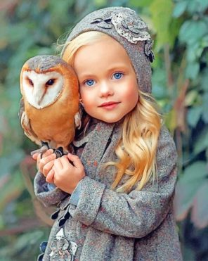 Girl With An Owl paint by numbers