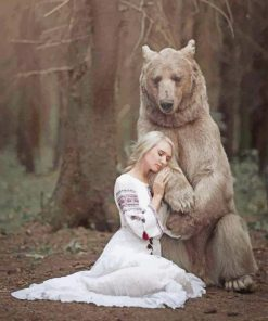 Girl With Bear Photography paint by numbers