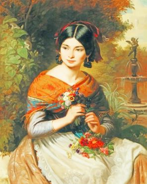 Girl With Flowers Josef Borsos Paint by numbers