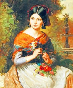 Lady With Flowers paint by numbers
