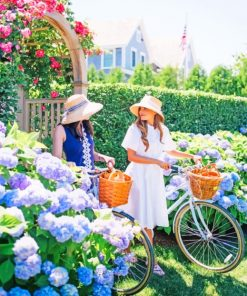 Girls In A Flowers Garden Paint by numbers