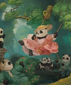 Happy Panda Family Paint by numbers