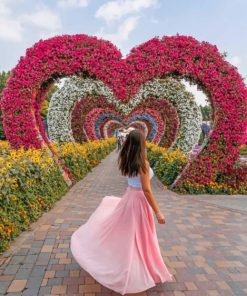 Girl In A Flowers Heart Shape Paint by numbers
