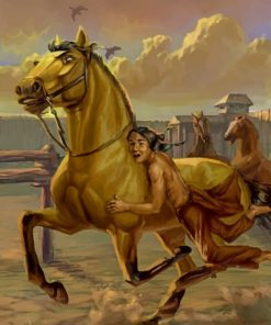 Running Horse With A Native American Paint by numbers