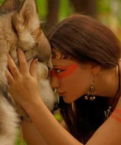 Jungle Woman And Her Wolf paint by numbers