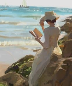 Lady Reading A Book In The Beach paint by numbers